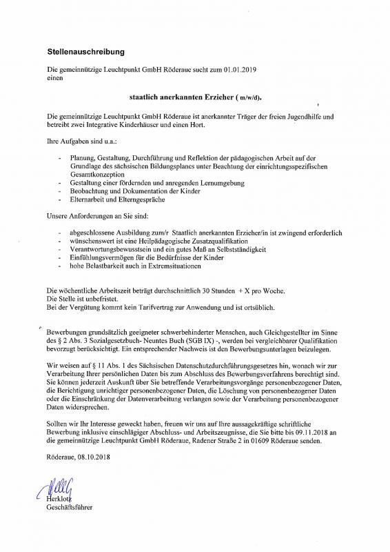 Gemeinde Röderaue Aktuelles - Stellenausschreibung Erzieher/in